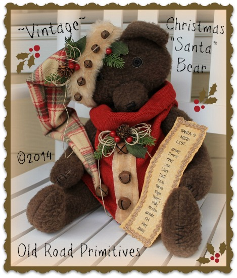 ***NEW*** Vintage Style Santa Christmas Bear Pattern