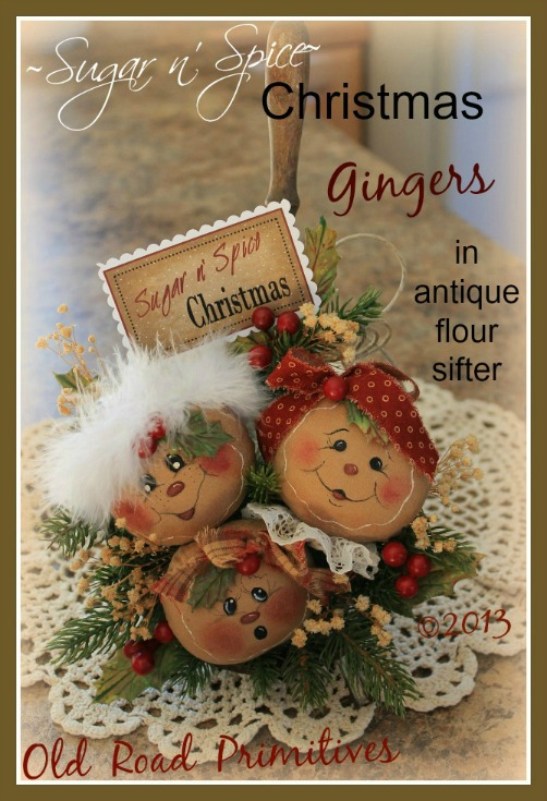 ***NEW*** Sugar n' Spice Christmas Gingers Pattern-Ginger,Gingerbread,Gingerbread Ornies,Vintage,Antique,Christmas,Old Road Primitives,Craft Pattern,