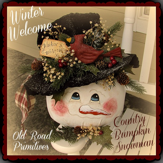 Winter Welcome Country Bumpkin Snowman Pattern