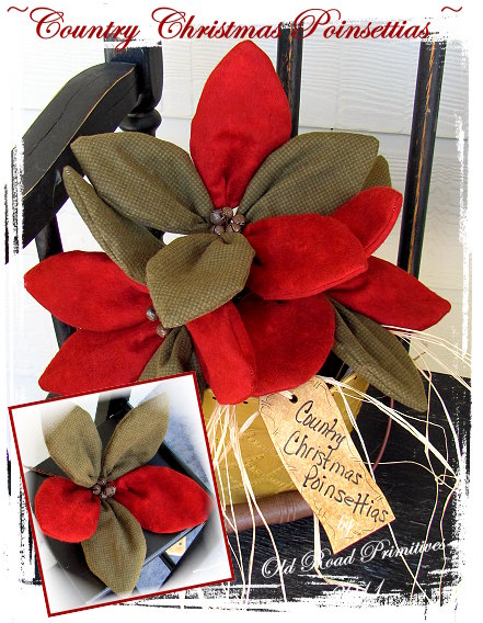 Country Christmas Poinsettias Pattern