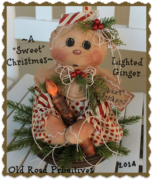 ***NEW*** A Sweet Christmas Lighted Ginger Pattern-Ginger,Gingerbread,Pattern,ePattern,Old Road Primitives,Christmas,
