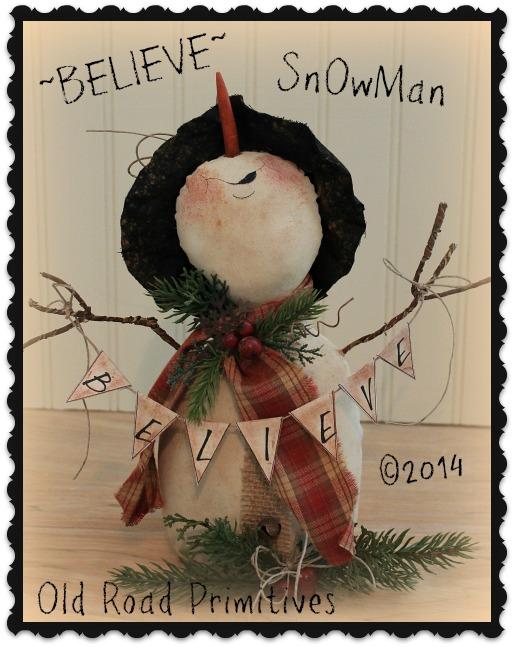 ***NEW*** BELIEVE Snowman Pattern-Snowman pattern,snowman ePattern,Snowman,ePattern,Primitives,