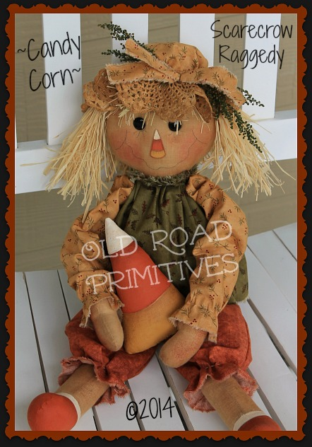 ***NEW*** Candy Corn Scarecrow Raggedy Pattern-Fall, Halloween,ePattern,Candy Corn,Old Road Primitives,Patterns,