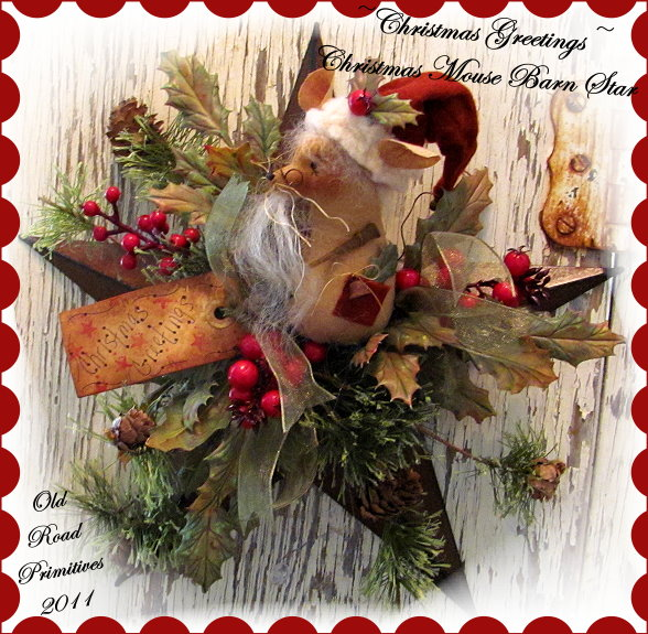Christmas Greetings Christmas Mouse Barn Star Pattern