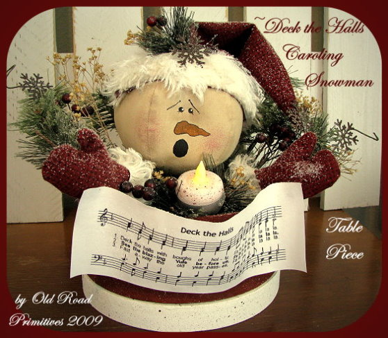 Deck the Halls Caroling Snowman Table Piece Pattern