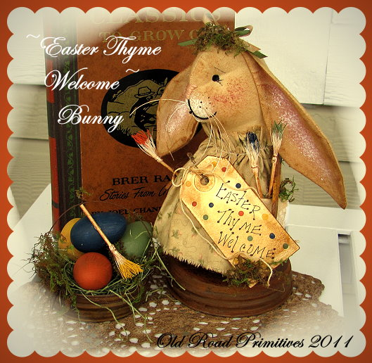 Primitive Folk Art Easter Thyme Welcome Bunny Pattern-Primitive,Folk Art,Pattern,Easter,Spring,Bunny,Rabbit,Pattern,Old Road Primitives,
