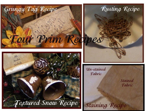 Four Prim Recipes for Rusting, Grungy Tags, Textured Snow & Staining