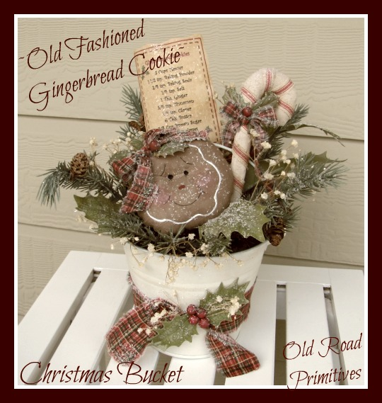 Old Fashioned Gingerbread Cookie Christmas Bucket Pattern