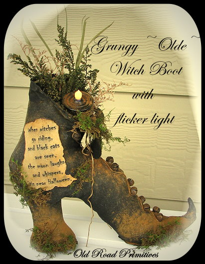 Grungy Olde Witch Boot Pattern-Witch,Witch Boot,Old Road Primitives,Patterns,ePatterns,Fall,Halloween,