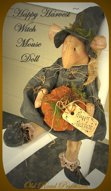 Happy Harvest Witch Mouse Doll Pattern