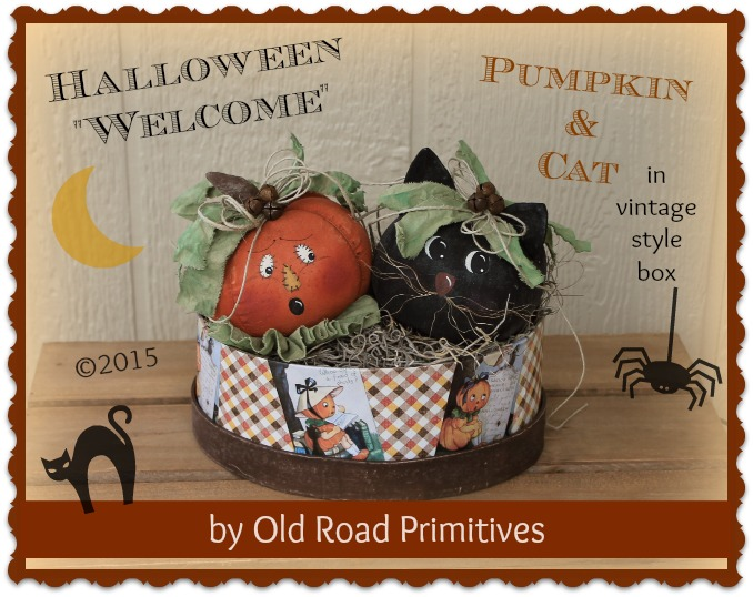 Halloween Welcome Pumpkin & Cat Pattern
