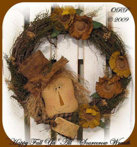 Happy Fall Ya' All Scarecrow Wreath Pattern