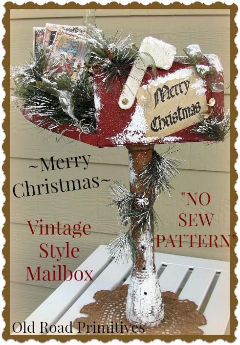 Merry Christmas Vintage Style Mailbox Pattern