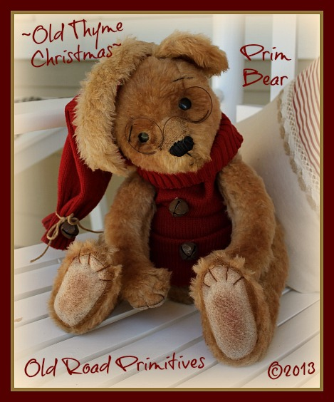 ***NEW*** Vintage Old Thyme Christmas Prim Bear Pattern-Prim Bear,Primitive Bear,Primitive Christmas Bear,Bear Pattern, Old Road Primitives,