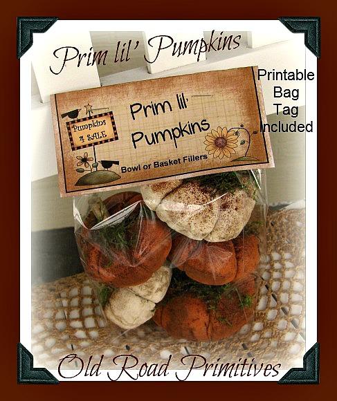 Prim lil' Pumpkins Pattern w/ Printable Bag Tag