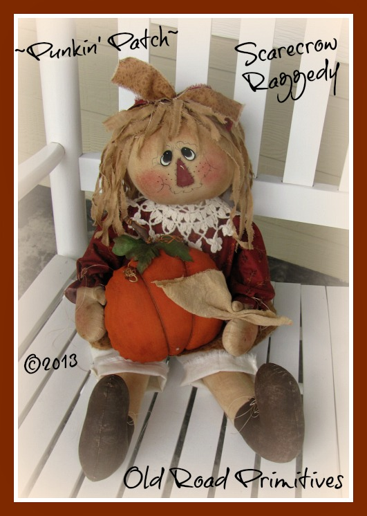 ***NEW*** Punkin Patch Scarecrow Raggedy Pattern-Scarecrow,Scarecrow Pattern,Raggedy Pattern,Fall Patterns,Harvest,Old Road Primitives Patterns,