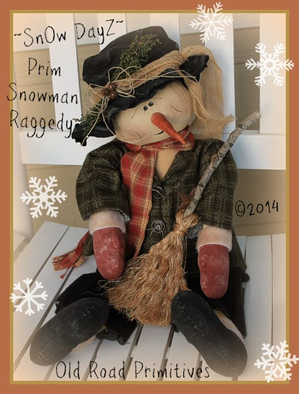 ***NEW*** SnOw DayZ Prim Snowman Raggedy Pattern-Snowman,Prim Snowman,Primitive,ePattern,Pattern,Old Road Primitives,