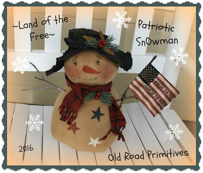 #ORPC267 Land of the Free Patriotic Snowman Pattern