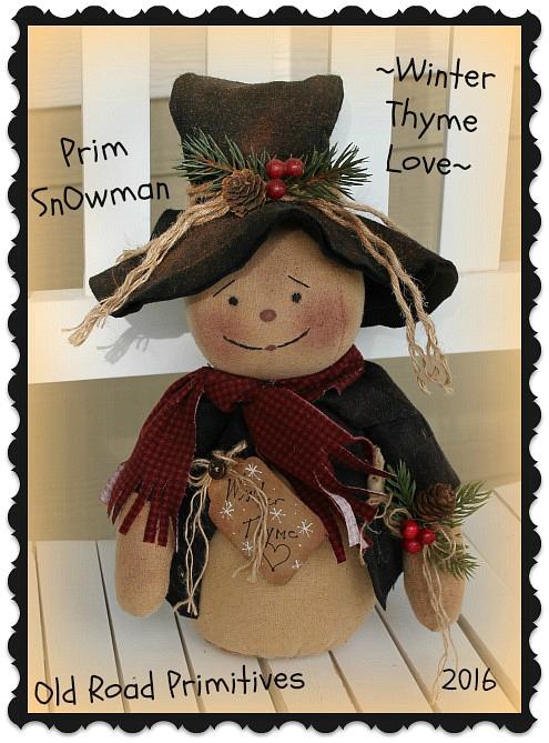 Winter Thyme Love Prim Snowman Pattern