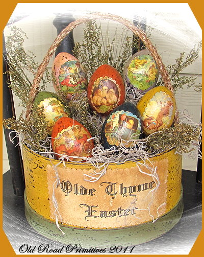 Primitive Olde Thyme Easter Basket Pattern-Primitive Easter Basket,German Easter Eggs,Pattern,Old Road Primitives,Vintage,Olde Style,