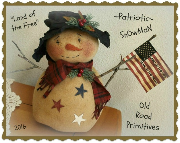 Land of the Free Patriotic Snowman Pattern