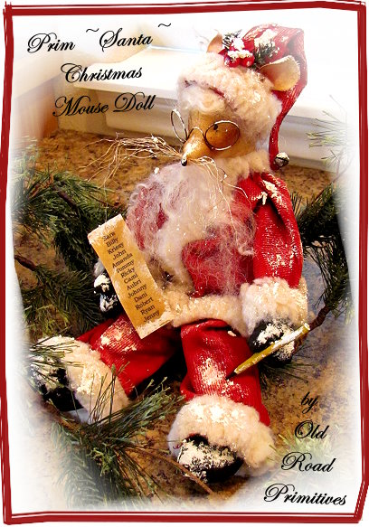 Prim Santa Christmas Mouse Doll Pattern