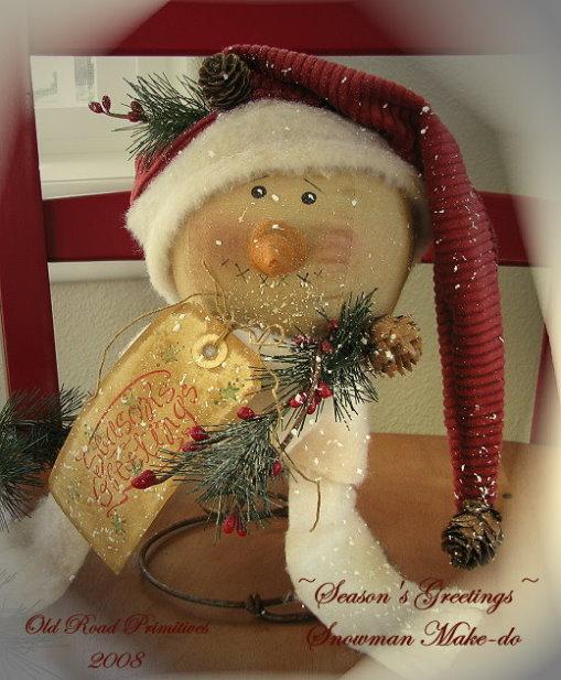 Season's Greetings Snowman Make-do Pattern