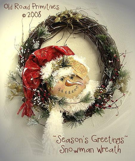 Season's Greetings Snowman Wreath Pattern