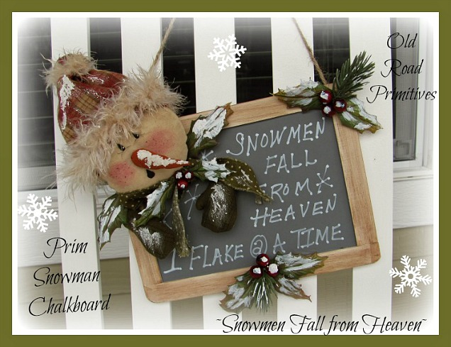 Snowmen Fall from Heaven Prim Snowman Chalkboard Pattern