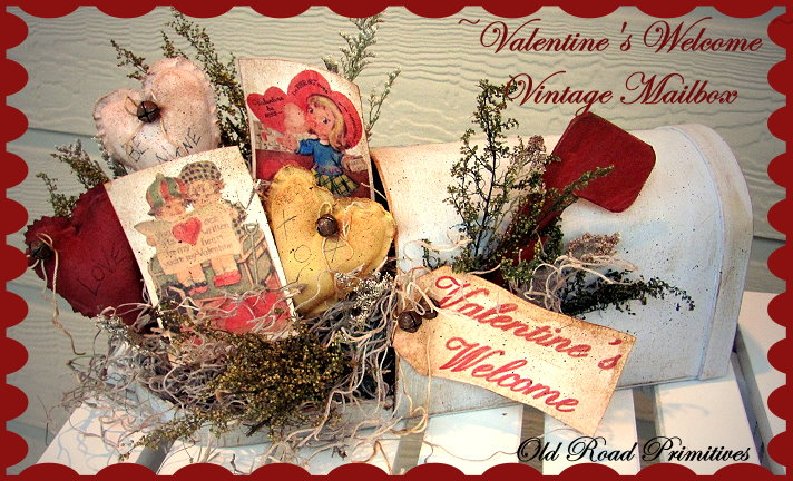Primitive Valentine's Welcome Vintage Mailbox Pattern-Primitive,Primitive Pattern,Valentine's,Mailbox,Old Road Primitives,Craft Patterns,