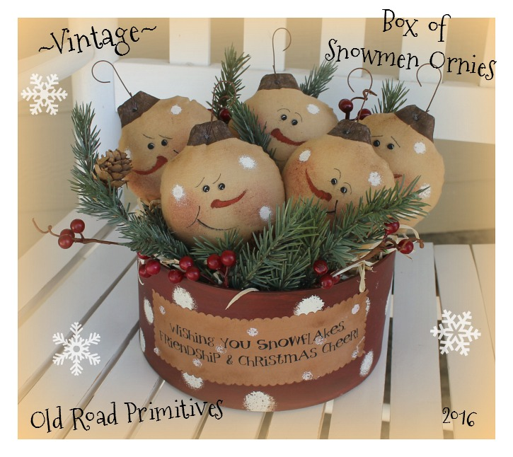 #ORPP ***NEW*** Vintage Box of Snowmen Ornies Pattern