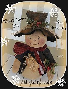 #ORPP ***NEW*** Winter Thyme Love Prim Snowman Pattern